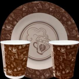 Тарелка и стакан  бумажная коллекция  Чай-кофе