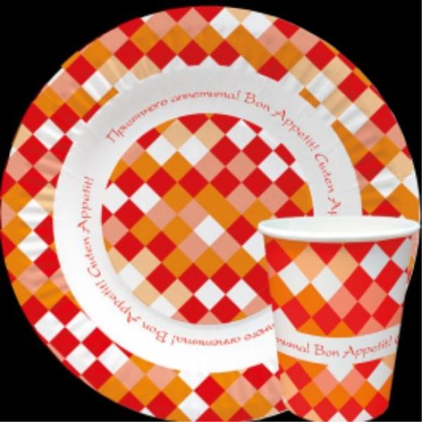 Тарелка стакан  и упаковка бумажная коллекция Фастфуд