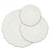 Салфетки ажурные белые, различного диаметра