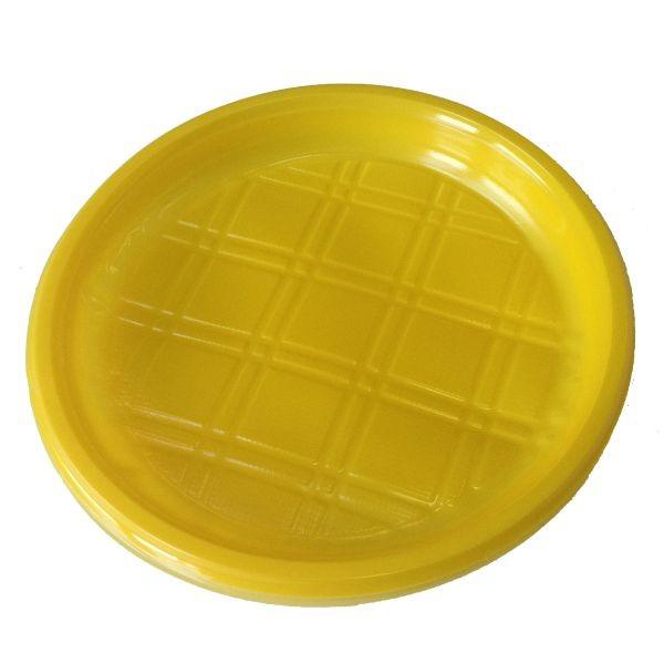Тарелка пластиковая 200 мм ПП безсекц. желтая