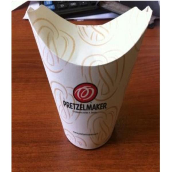 Стакан для  фри, снэков, наггетов бумажный на 100-150г с крышкой с Вашим логотипом