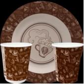 Тарелка и стакан бумажная (картонная) коллекция (набор) Чай-кофе