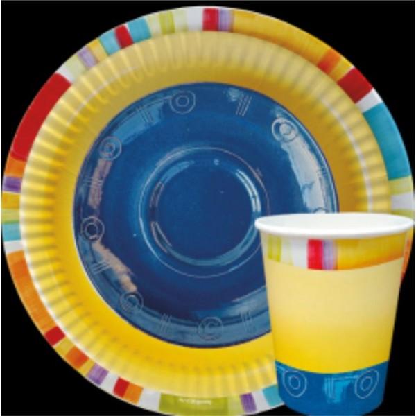 Тарелка и стакан  бумажная коллекция (набор) Творчество