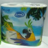 Туалетная бумага двухслойная Лотти _Попугай 4 рулона/уп