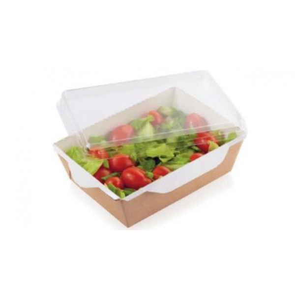 Емкость картонная салатная салатник крафт с прозрачной крышкой Большой DE