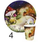 """Тарелка и стакан бумажная (картонная) коллекция (набор) дизайн детский """"Волшебные сказки"""""""