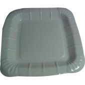 Тарелка бумажная квадратная  белая ламинированная 210*210 мм